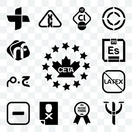 Set Of 13 transparent editable icons such as ceta, psy, patent pending, blacklisted, hyphen, latex free, egyptian pound, einsteinium, nf, web ui icon pack Foto de archivo - 150282663