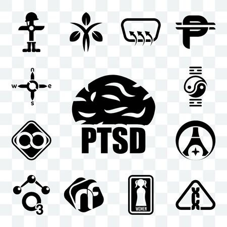 Set Of 13 transparent editable icons such as ptsd, carcinogen, women's restroom, nf, chemical, psg, html infinity, qigong, n s e w, web ui icon pack
