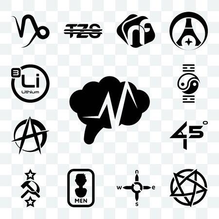 Set Of 13 transparent editable icons such as epilepsy, devil's, n s e w, mens bathroom, soviet, 45 degree angle, anarchist, qigong, lithium, web ui icon pack Ilustração