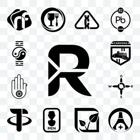 Set Of 13 transparent editable icons such as south african rand, psg, pure veg, mens bathroom, tether, n s e w, jain, cardona, qigong, web ui icon pack Ilustração