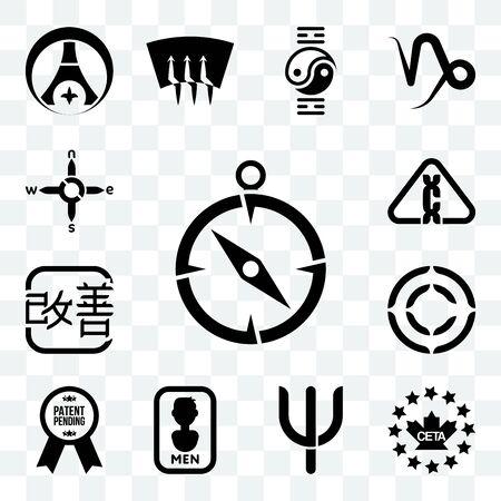 Set Of 13 transparent editable icons such as compas, ceta, psi, mens bathroom, patent pending, copyright, kaizen, carcinogen, n s e w, web ui icon pack