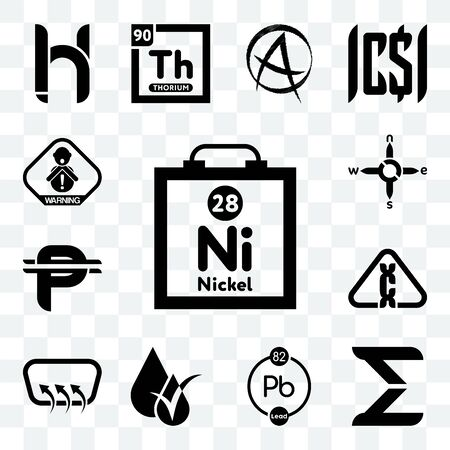 Set Of 13 transparent editable icons such as nickel, sigma, chemical, hypoallergenic, defroster, carcinogen, cuban peso, n s e w, choking hazard, web ui icon pack Ilustração