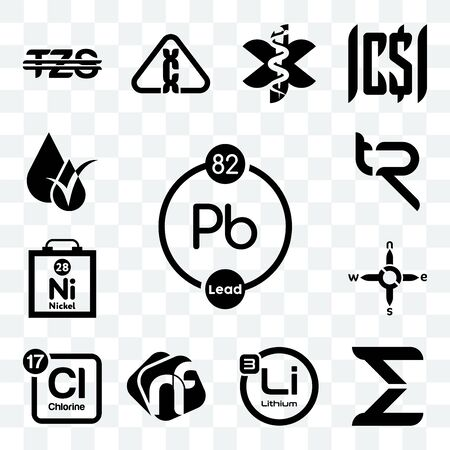 Set Of 13 transparent editable icons such as chemical, sigma, lithium, nf, periodic table chlorine, n s e w, nickel, tr, hypoallergenic, web ui icon pack
