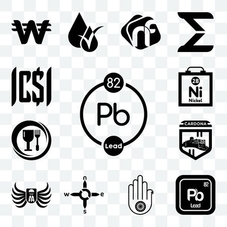 Set Of 13 transparent editable icons such as chemical, pb jain, n s e w, army airborne, cardona, food grade, nickel, , web ui icon pack