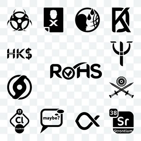 Set Of 13 transparent editable icons such as rohs, strontium, alfa, maybe, chlorine, indian army, official hurricane, psy, hong kong dollar, web ui icon pack Ilustração