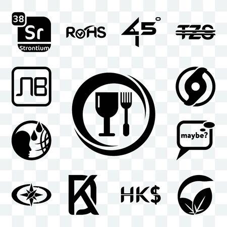 Set Of 13 transparent editable icons such as food grade, vegan vs vegetarian, hong kong dollar, kd, polaris, maybe, , official hurricane, bulgarian currency, web ui icon pack Ilustração