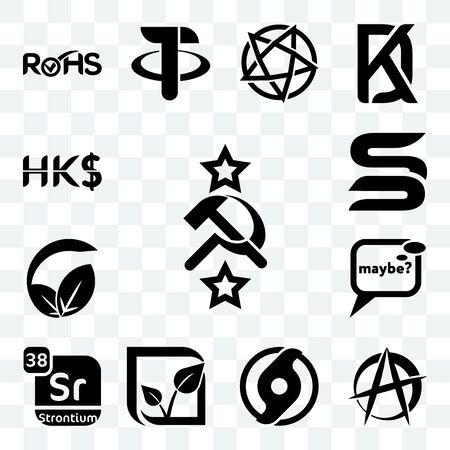Set Of 13 transparent editable icons such as soviet, anarchist, official hurricane, pure veg, strontium, maybe, vegan vs vegetarian, sb, hong kong dollar, web ui icon pack