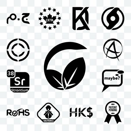Set Of 13 transparent editable icons such as vegan vs vegetarian, patent pending, hong kong dollar, choking hazard, rohs, maybe, strontium, punk anarchy, copyright, web ui icon pack Vectores