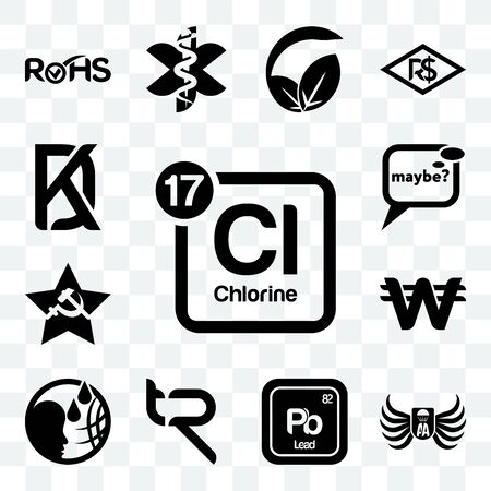 Set Of 13 transparent editable icons such as periodic table chlorine, army airborne, pb chemical, tr, , south korean currency, comunist, maybe, kd, web ui icon pack