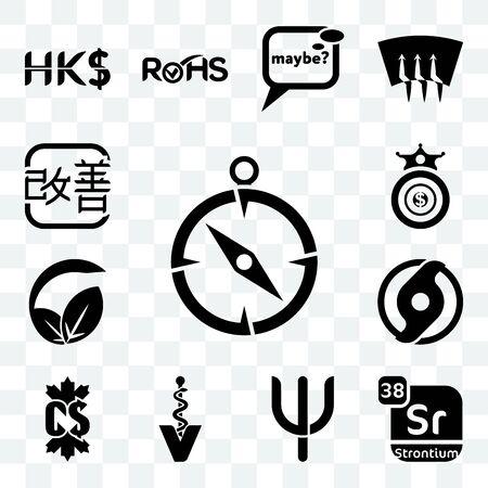 Set Of 13 transparent editable icons such as compas, strontium, psi, veterinary caduceus, canadian dollar, official hurricane, vegan vs vegetarian, oligarchy, kaizen, web ui icon pack Ilustração
