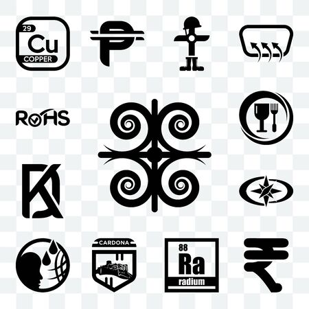 Set Of 13 transparent editable icons such as, rupees, radium, cardona, polaris, kd, food grade, rohs, web ui icon pack