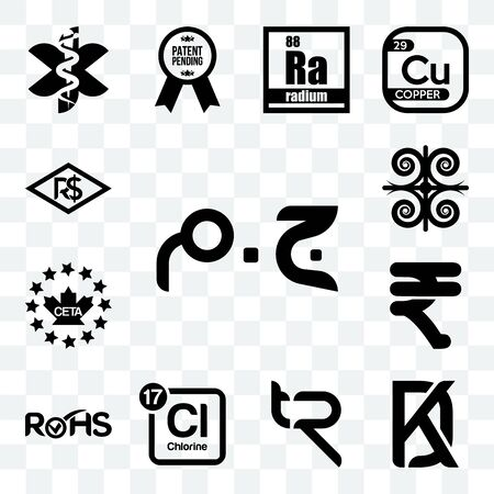 Set Of 13 transparent editable icons such as egyptian pound, kd, tr, periodic table chlorine, rohs, rupees, ceta, , brazilian real, web ui icon pack Foto de archivo - 150283133
