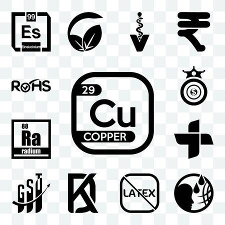 Set Of 13 transparent editable icons such as copper, , latex free, kd, gst, plus, radium, oligarchy, rohs, web ui icon pack Ilustração
