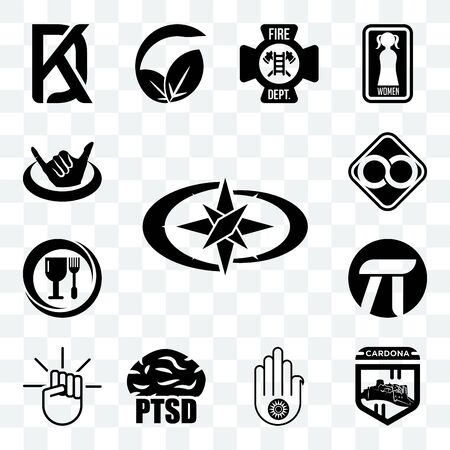 Set Of 13 transparent editable icons such as polaris, cardona, jain, ptsd, , pi, food grade, html infinity, hang ten, web ui icon pack