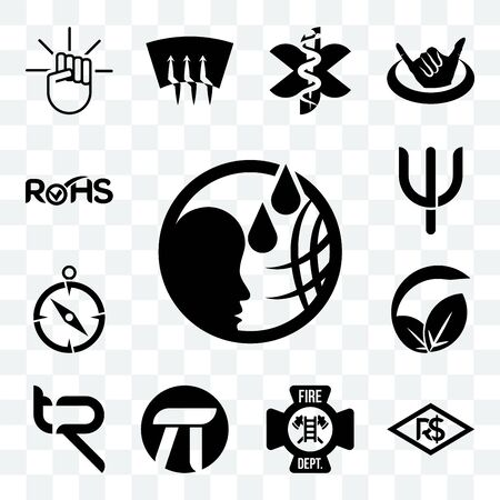 Set Of 13 transparent editable icons such as, brazilian real, fire dept, pi, tr, vegan vs vegetarian, compas, psi, rohs, web ui icon pack Ilustração