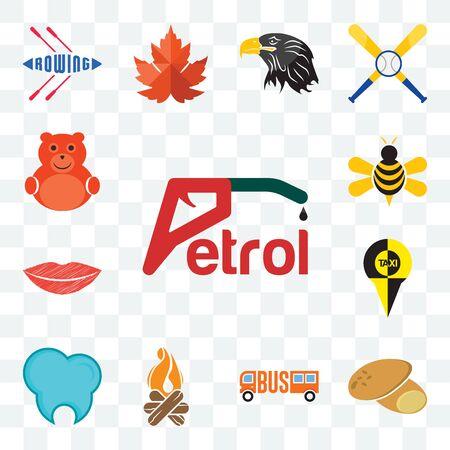 Set Of 13 transparent editable icons such as petrol, potato, , bonfire, dental clinic, lip, honey bee, cute bear, web ui icon pack
