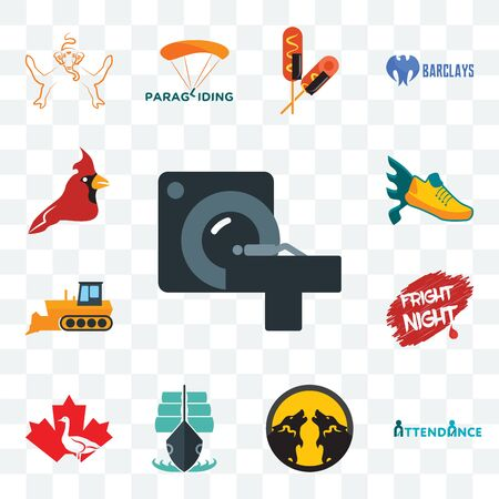 Set Of 13 transparent editable icons such as ct scan, attendance, pack wolf, tall ship, canada goose, fright night, dozer, flying shoe, cardinal bird, web ui icon Illustration