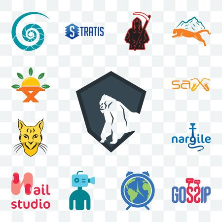 Set Of 13 transparent editable icons such as king kong, gossip, earth hour, cameraman, nail studio, nargile,  sax, farm to table, web ui icon pack