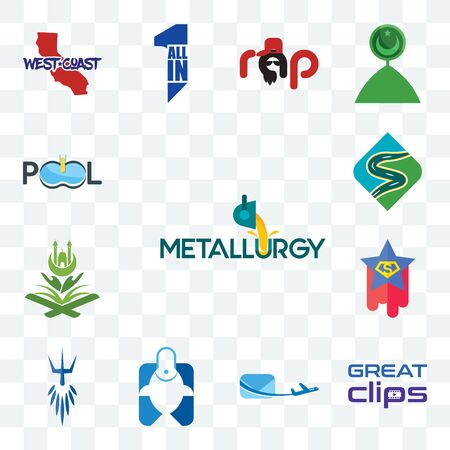 Set Of 13 transparent editable icons such as metallurgy, great clips, air mail, fishing store, poseidon, superstar, quran, winding road, pool company, web ui icon pack Ilustração