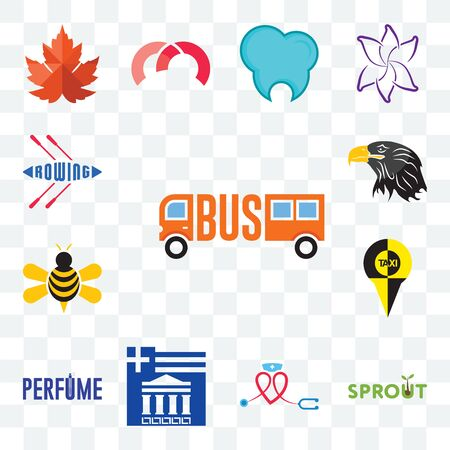 Set Of 13 transparent editable icons such as, sprout, nursing, greek, honey bee, eagle head, rowing, web ui icon pack