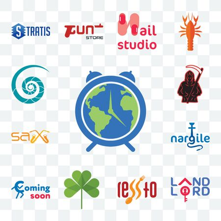 Set Of 13 transparent editable icons such as earth hour, landlord, , three leaf clover, coming soon, nargile, sax, grim reaper, nautilus shell, web ui icon pack