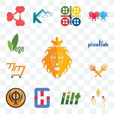 Set Of 13 transparent editable icons such as judah and the lion, laxmi, lilt, generic hospital, sikhism, trishul, mini mart, pixellab, vege, web ui icon pack Ilustração