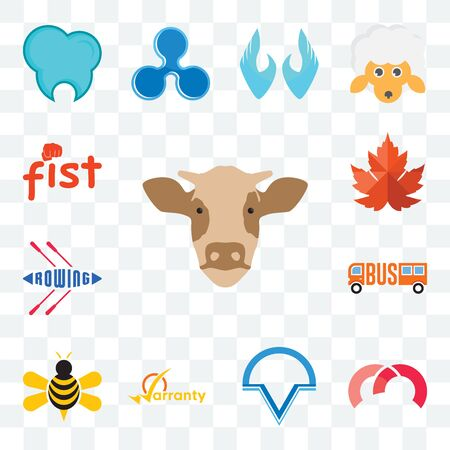 Set Of 13 transparent editable icons such as cow head, m, v circle, warranty, honey bee, , rowing, maple leaf, fist, web ui icon pack