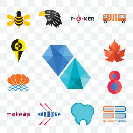 Set Of 13 transparent editable icons such as diamond, student book, dental clinic, rowing, , number 8, sea shell, maple leaf, web ui icon pack