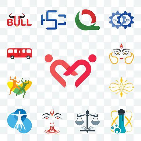Set Of 13 transparent editable icons such as friendship, science, naacp, anjaneya, vitruvian man, vip, , durga, bus, web ui icon pack Ilustração