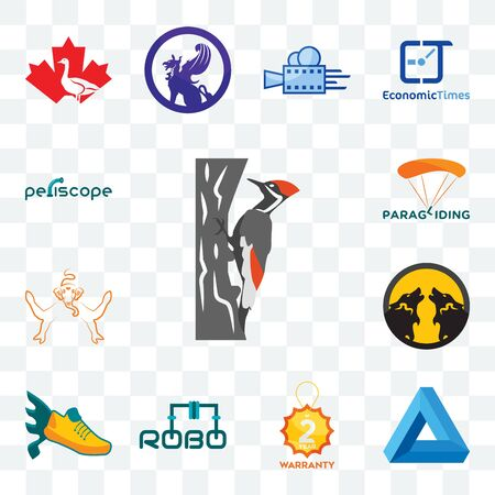 Set Of 13 transparent editable icons such as woodpecker, penrose triangle, 2 year warranty, robo, flying shoe, pack wolf, ganesh, paragliding, periscope, web ui icon
