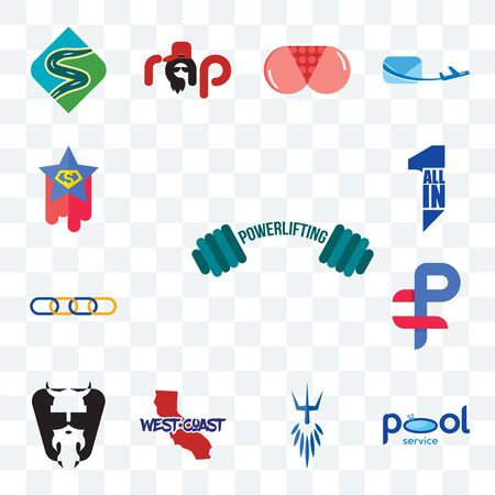 Set Of 13 transparent editable icons such as powerlifting, pool service, poseidon, west coast, vikings, ruble, supply chain, all in one, superstar, web ui icon pack