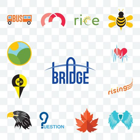 Set Of 13 transparent editable icons such as bridge, angel wing, maple leaf, question, eagle head, rising, , heartbeat, farm, web ui icon pack