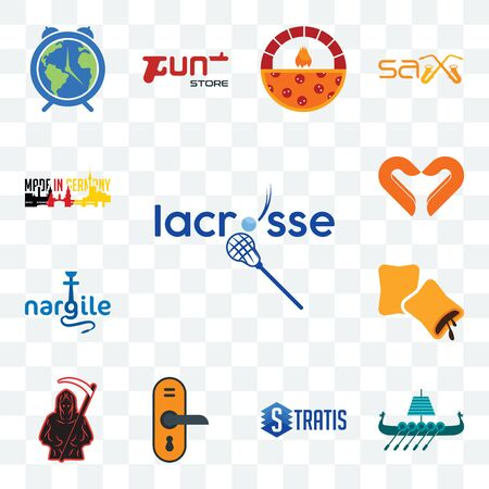 Set Of 13 transparent editable icons such as lacrosse, viking ship, stratis, door knob, grim reaper, krave, nargile, handicraft company, made in germany, web ui icon pack