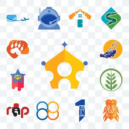 Set Of 13 transparent editable icons such as royal family, orange lion, all in one, 88, rap, fern, superstar, lawn mower, lion paw, web ui icon pack