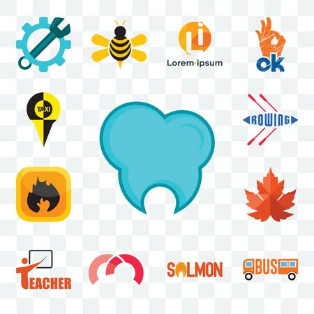Set Of 13 transparent editable icons such as dental clinic, , salmon, m, teacher, maple leaf, flammable, rowing, web ui icon pack