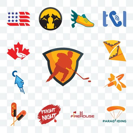 Set Of 13 transparent editable icons such as power play hockey, paragliding, firehouse, fright night, corn dog, javelin, fastclick, crepe, canada goose, web ui icon pack