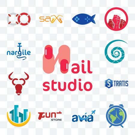 Set Of 13 transparent editable icons such as nail studio, earth hour, avia, gun store, construction, stratis, cattle company, nautilus shell, nargile, web ui icon pack