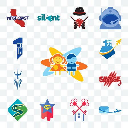 Set Of 13 transparent editable icons such as childcare, air mail, , superstar, winding road, savage, poseidon, all in one, web ui icon pack
