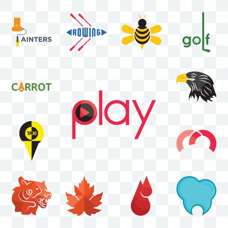 Set Of 13 transparent editable icons such as play, dental clinic, blood drop, maple leaf, bear head, m, , eagle carrot, web ui icon pack Ilustração
