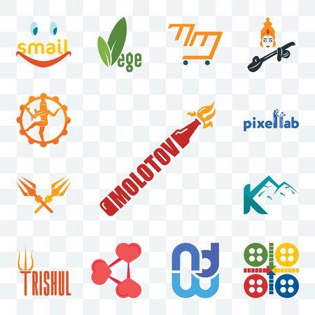 Set Of 13 transparent editable icons such as molotov, ludo, wnd, share png, trishul, k mountain, pixellab, nataraj, web ui icon pack Ilustração