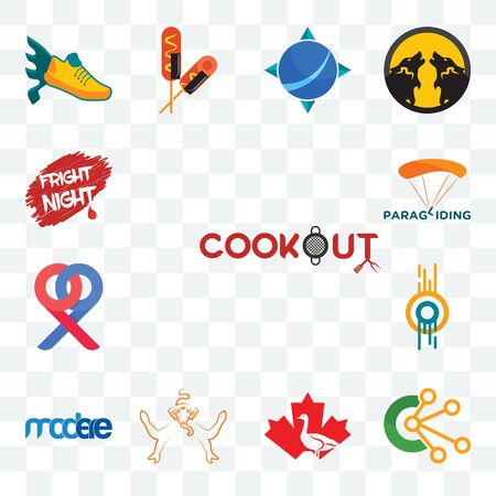 Set Of 13 transparent editable icons such as cookout, comunication, canada goose, ganesh, modere, double o, p, paragliding, fright night, web ui icon pack