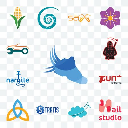 Set Of 13 transparent editable icons such as shoes with wings, nail studio, nervous system, stratis, holy trinity, gun store, nargile, grim reaper, auto body repair, web ui icon pack