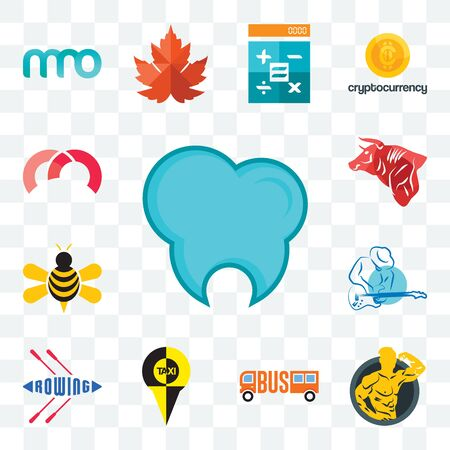 Set Of 13 transparent editable icons such as dental clinic, muscle man, , rowing, s music, honey bee, bull, m, web ui icon pack