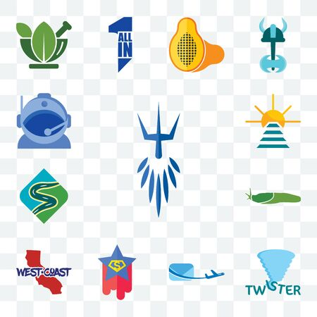 Set Of 13 transparent editable icons such as poseidon, twister, air mail, superstar, west coast, slug, winding road, rise and shine, astronaut helmet, web ui icon pack