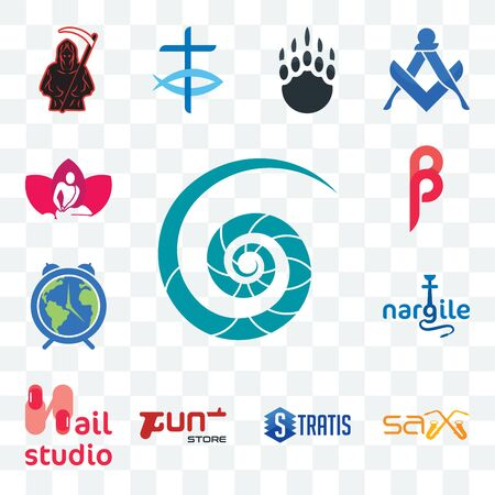 Set Of 13 transparent editable icons such as nautilus shell, sax, stratis, gun store, nail studio, nargile, earth hour, , massage therapist, web ui icon pack