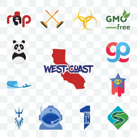 Set Of 13 transparent editable icons such as west coast, winding road, all in one, astronaut helmet, poseidon, superstar, air mail, gg, panda mascot, web ui icon pack Illustration