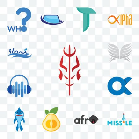 Set Of 13 transparent editable icons such as satan, missile, afro, pomelo, shark mascot, , audio visual, silver wings, flood, web ui icon pack
