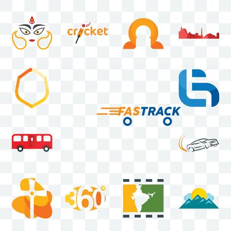 Set Of 13 transparent editable icons such as fastrack, mountain, bollywood, 360 degree, church, drift, bus, lg, crest, web ui icon pack Illustration