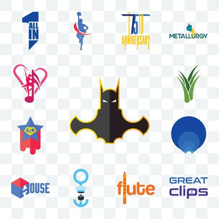 Set Of 13 transparent editable icons such as bat man, great clips, flute, seaman, house, golden ratio, superstar, aloe vera, culture club, web ui icon pack