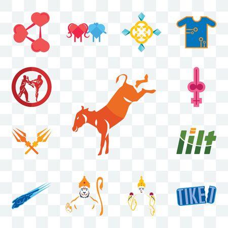 Set Of 13 transparent editable icons such as kicking mule, tiket, laxmi, hanuman, peregrine falcon, lilt, trishul, shemale, krav maga, web ui icon pack Ilustración de vector